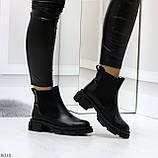 Модные черные женские ботинки челси из натуральной кожи с резиновыми вставками 40-25 41-25,5см, фото 4