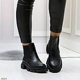 Модные черные женские ботинки челси из натуральной кожи с резиновыми вставками 40-25 41-25,5см, фото 5