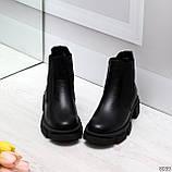 Модные черные женские ботинки челси из натуральной кожи с резиновыми вставками 40-25 41-25,5см, фото 6