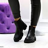 Модные черные женские ботинки челси из натуральной кожи с резиновыми вставками 40-25 41-25,5см, фото 7