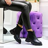 Модные черные женские ботинки челси из натуральной кожи с резиновыми вставками 40-25 41-25,5см, фото 8