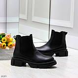 Модные черные женские ботинки челси из натуральной кожи с резиновыми вставками 40-25 41-25,5см, фото 9