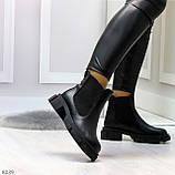 Модные черные женские ботинки челси из натуральной кожи с резиновыми вставками 40-25 41-25,5см, фото 10