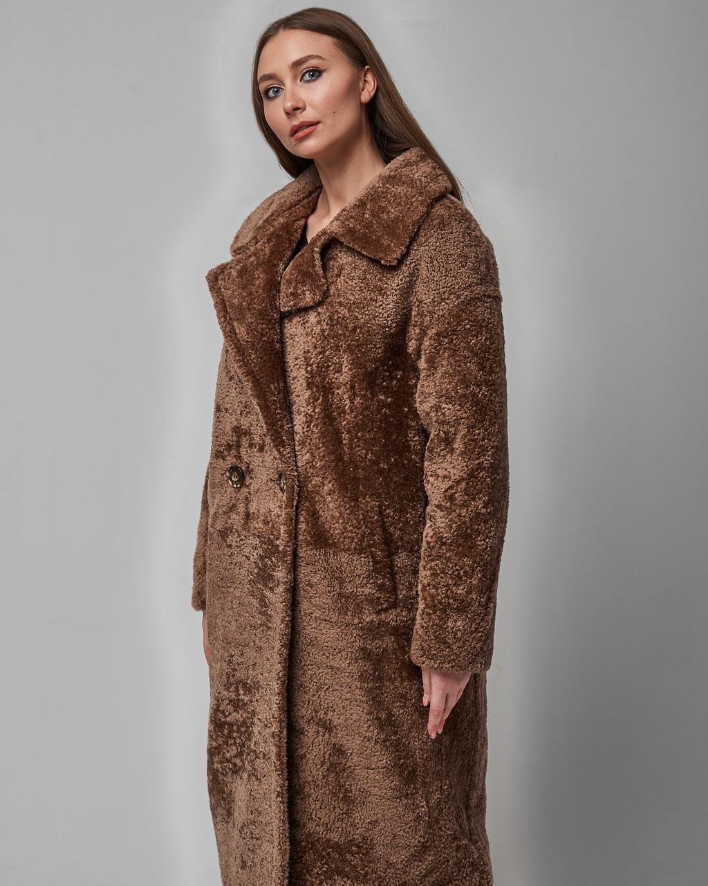 Дубленка женская из натуральной овчины (астраган) коричневая. Турция
