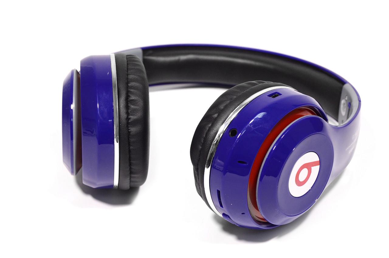 Наушники беспроводные Bluetooth Monster Beats TM-13 с mp3 + FM радио синие