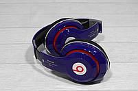 Наушники беспроводные Bluetooth Monster Beats TM-13 с mp3 + FM радио синие, фото 3