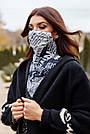 Шарф-маска двостороння біла з принтом, фото 2