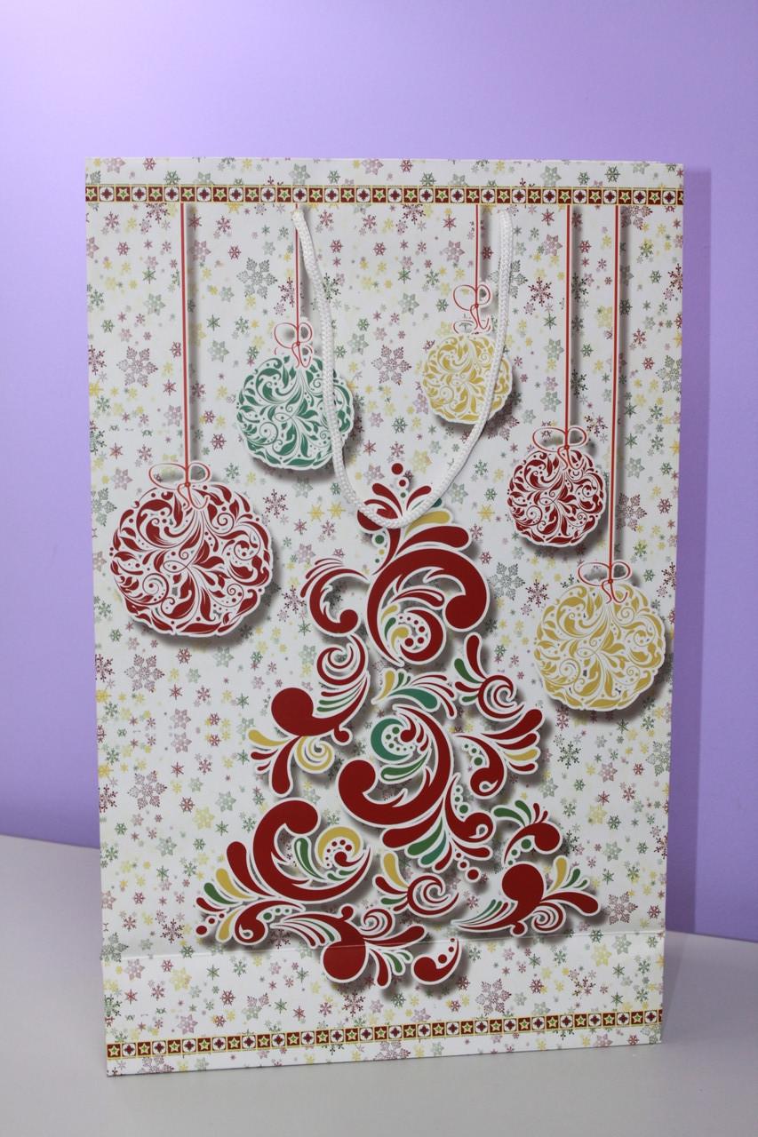 Картонный пакет белый с новогодним рисунком