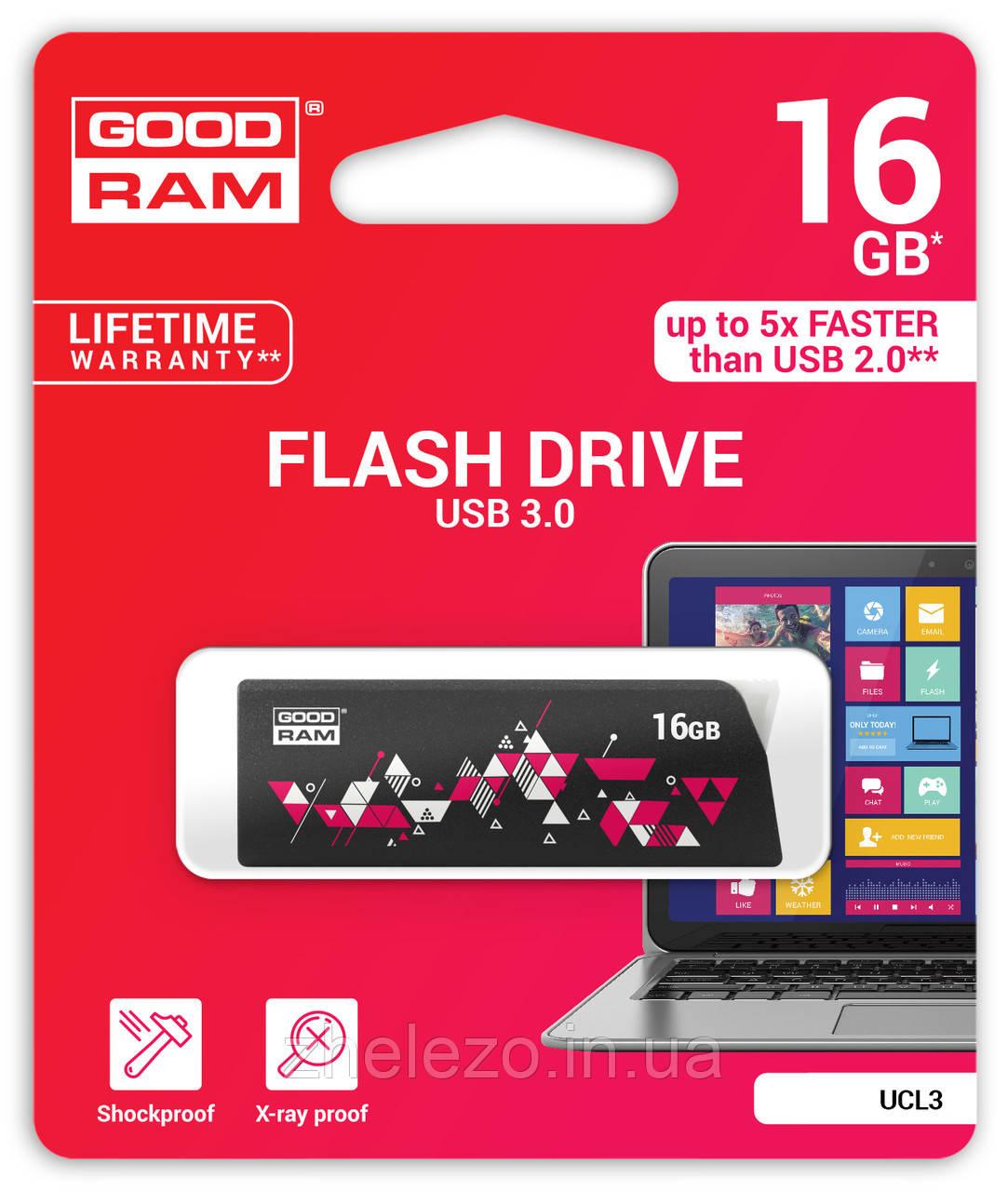 Флеш-накопичувач USB3.0 16GB GOODRAM UCL3 (Cl!ck) Black (UCL3-0160K0R11)