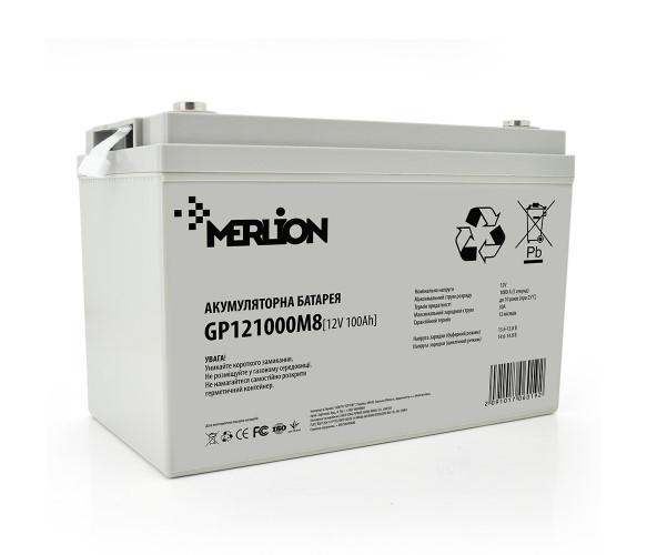 Аккумулятор AGM - 100 Ач, 12 В гелевый Merlion GP121000M8 White Q1