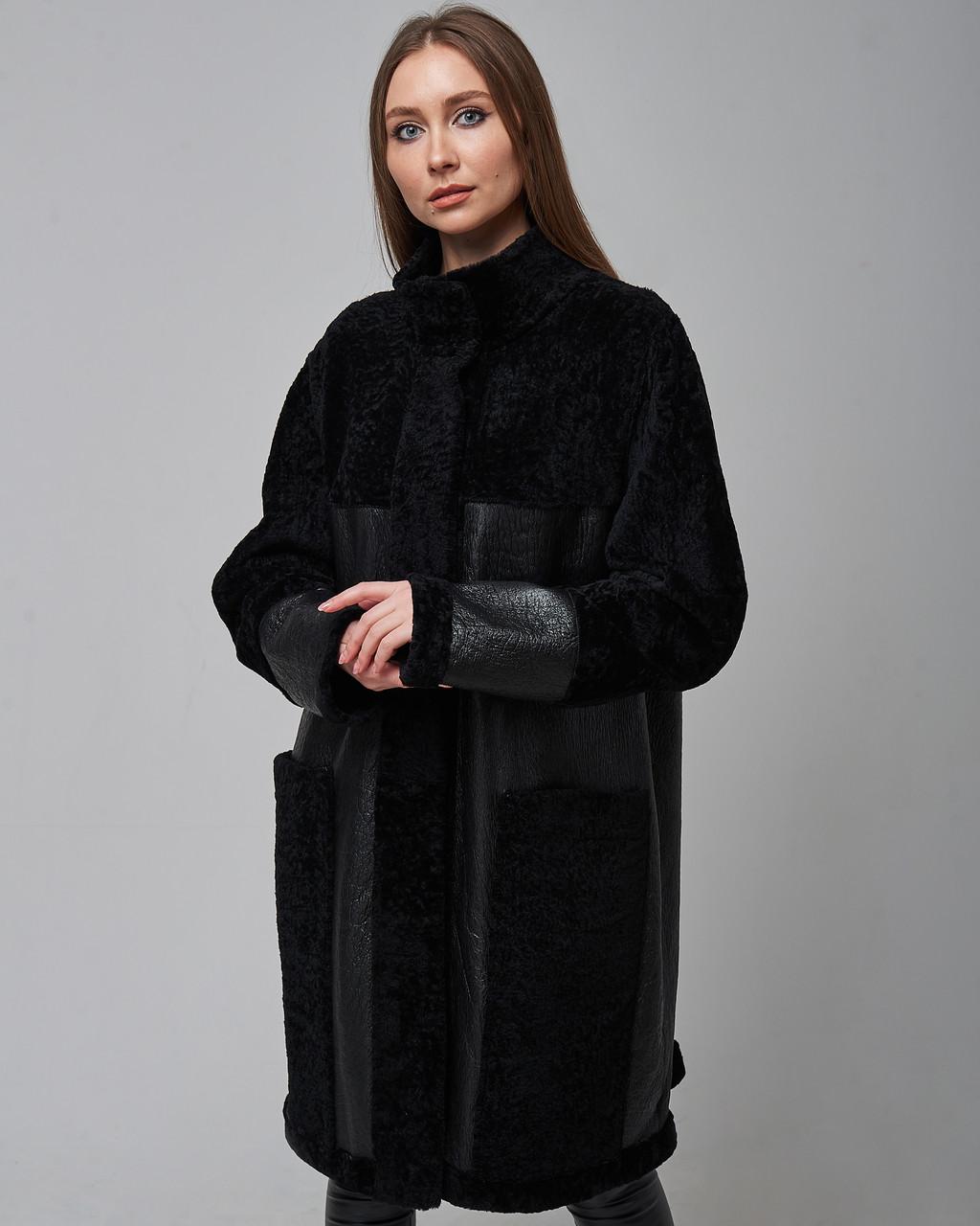Дубленка женская двусторонняя из натуральной овчины (астраган) черная. Турция.