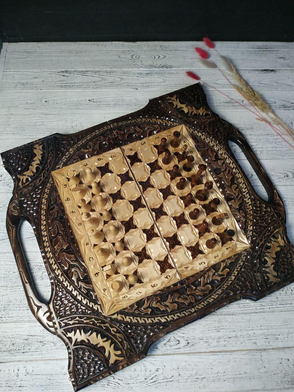 Деревянные шахматы с ручкой, шашки и нарды 3в1 ручной работы, оригинальный подарок