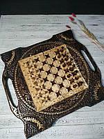 Деревянные шахматы с ручкой, шашки и нарды 3в1 ручной работы, оригинальный подарок, фото 1
