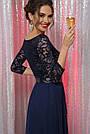 Нарядное синее платье с гипюром длинное, фото 3