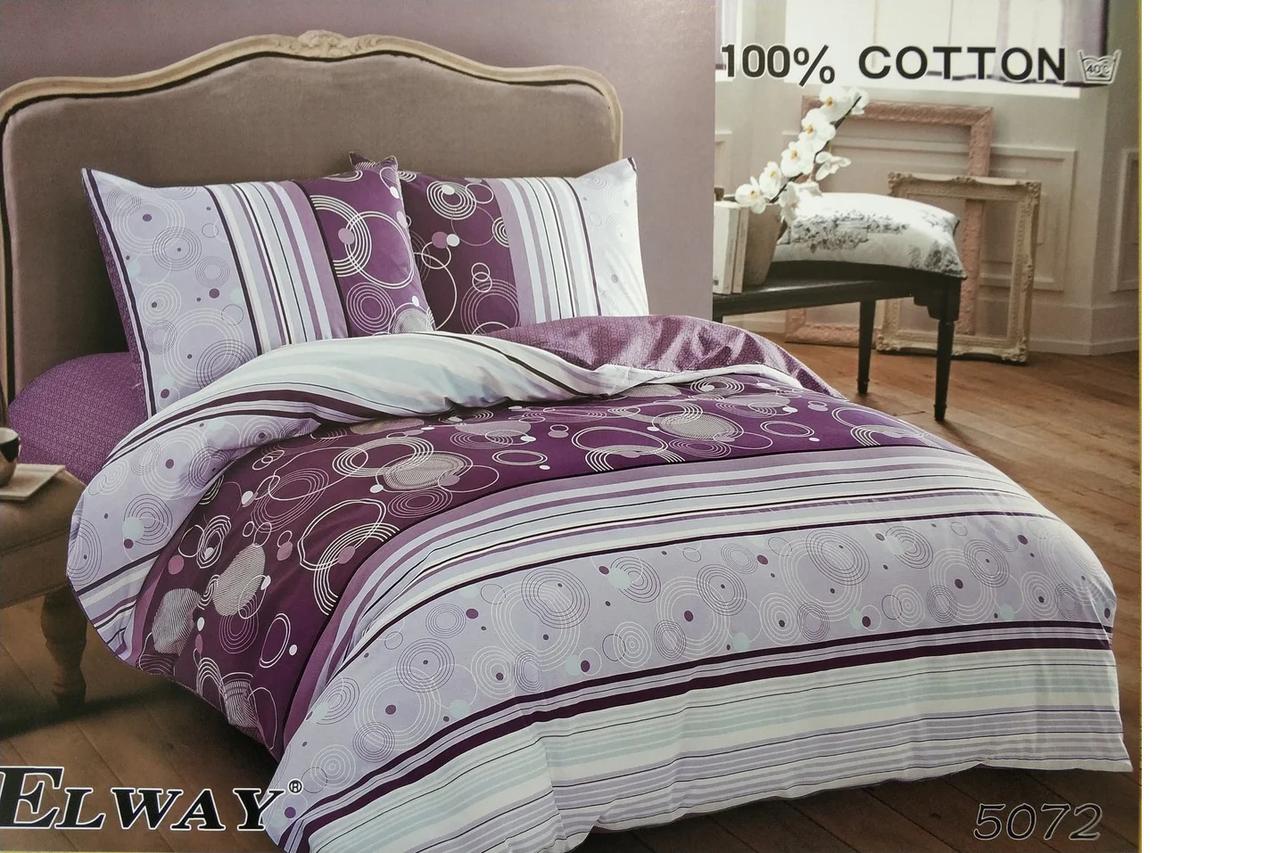 Сатиновое постельное белье полуторное  ELWAY 5072