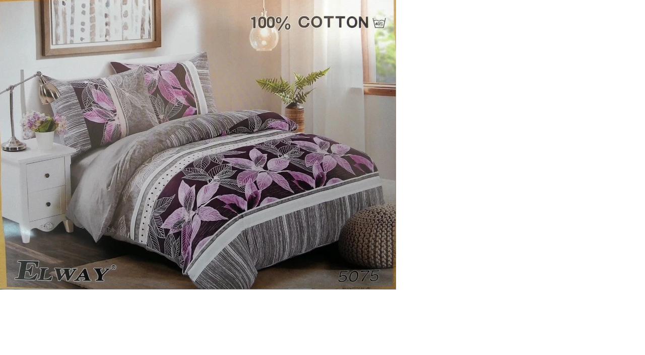 Сатиновое постельное белье полуторное  ELWAY 5075