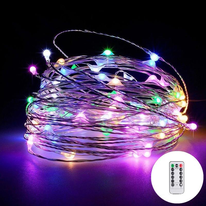 Светодиодная гирлянда капля росы 50 метров 500 led с пультом от сети (цветная)