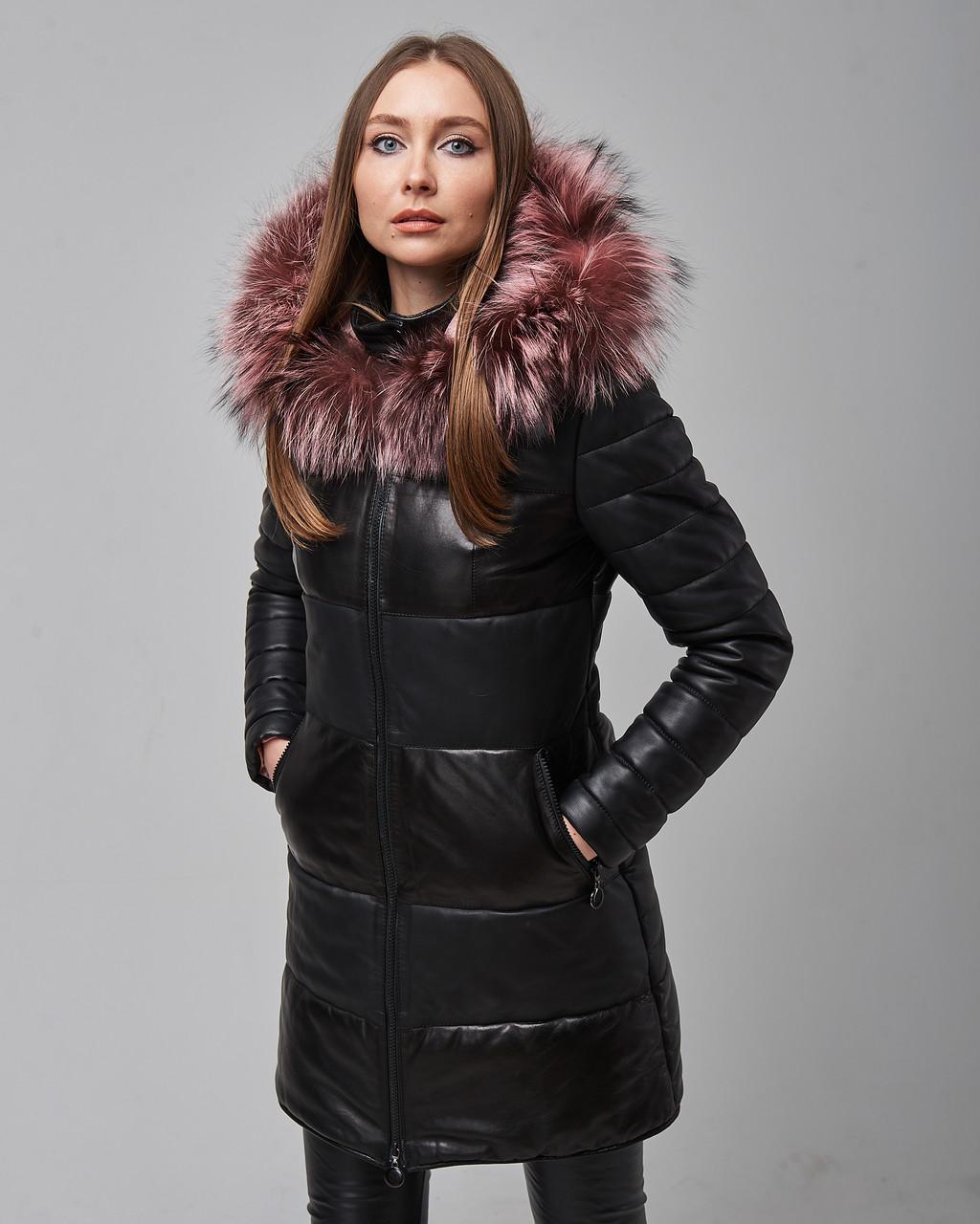 Женская теплая кожаная куртка черная с капюшоном на меху. Турция