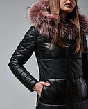 Женская теплая кожаная куртка черная с капюшоном на меху. Турция, фото 3
