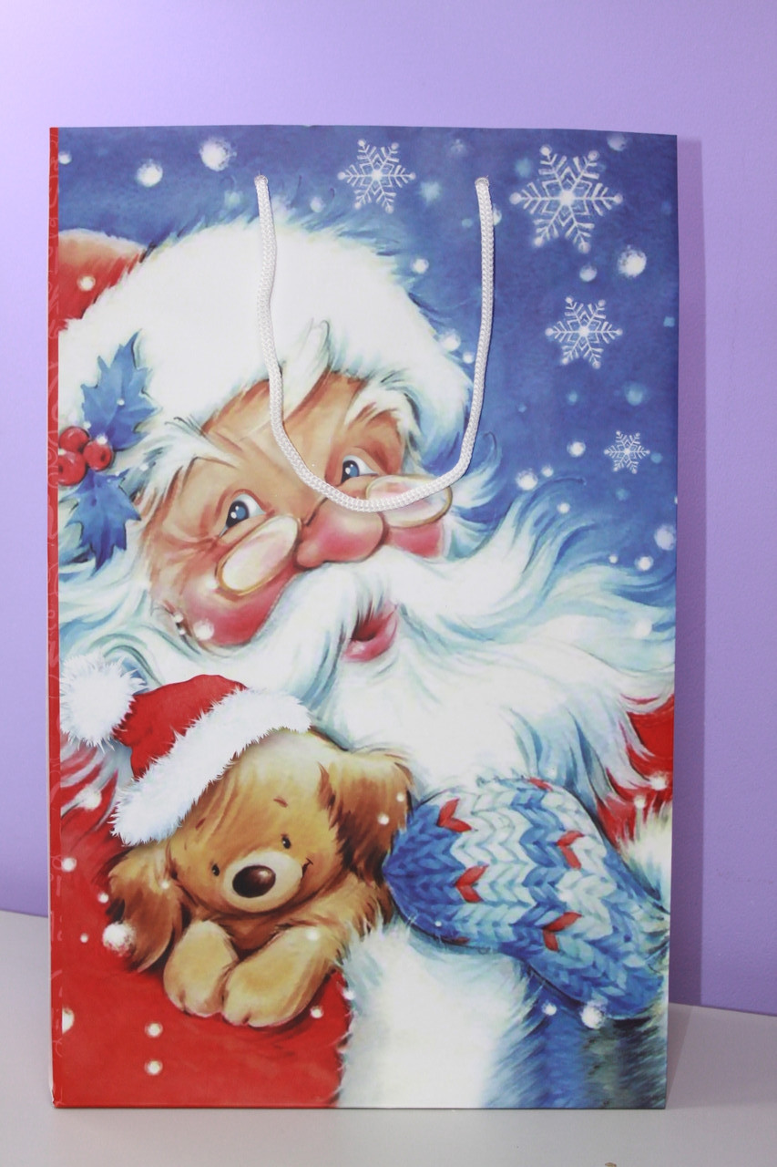 Новогодний бумажный пакет с рисунком дед мороз