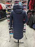 """Зимове довге пальто """"Леді"""", синє, фото 4"""