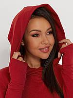 Женское теплое свободное платье с трехнитки цвет красный