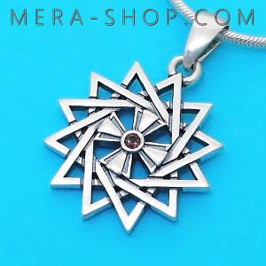 Серебряная Звезда Эрцгаммы двухсторонняя с раухтопазом - амулет Эрцгамма (24 мм, 4.7 г)