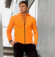 Мужская толстовка с капюшоном на молнии из трикотажа, кофта батник модная, весна-осень, оранжевая