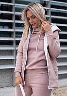 Спортивный женский костюм с жилеткой на флисе утепленный модель 2020/21