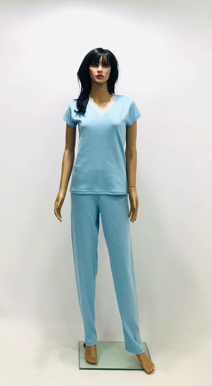 Трикотажная однотонная пижама футболка брюки