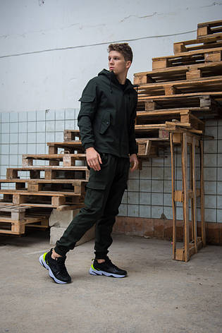 Мужской костюм хаки демисезонный Intruder. Куртка мужская хаки, штаны утепленные + Ключница, фото 2