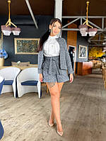 Женский шерстяной костюм с шортами и жакетом батал, фото 1