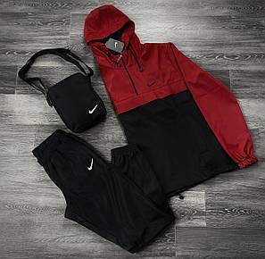 Костюм Спортивный мужской Найк, Nike красный черный. Барсетка в Подарок Анорак + штаны комплект, фото 2