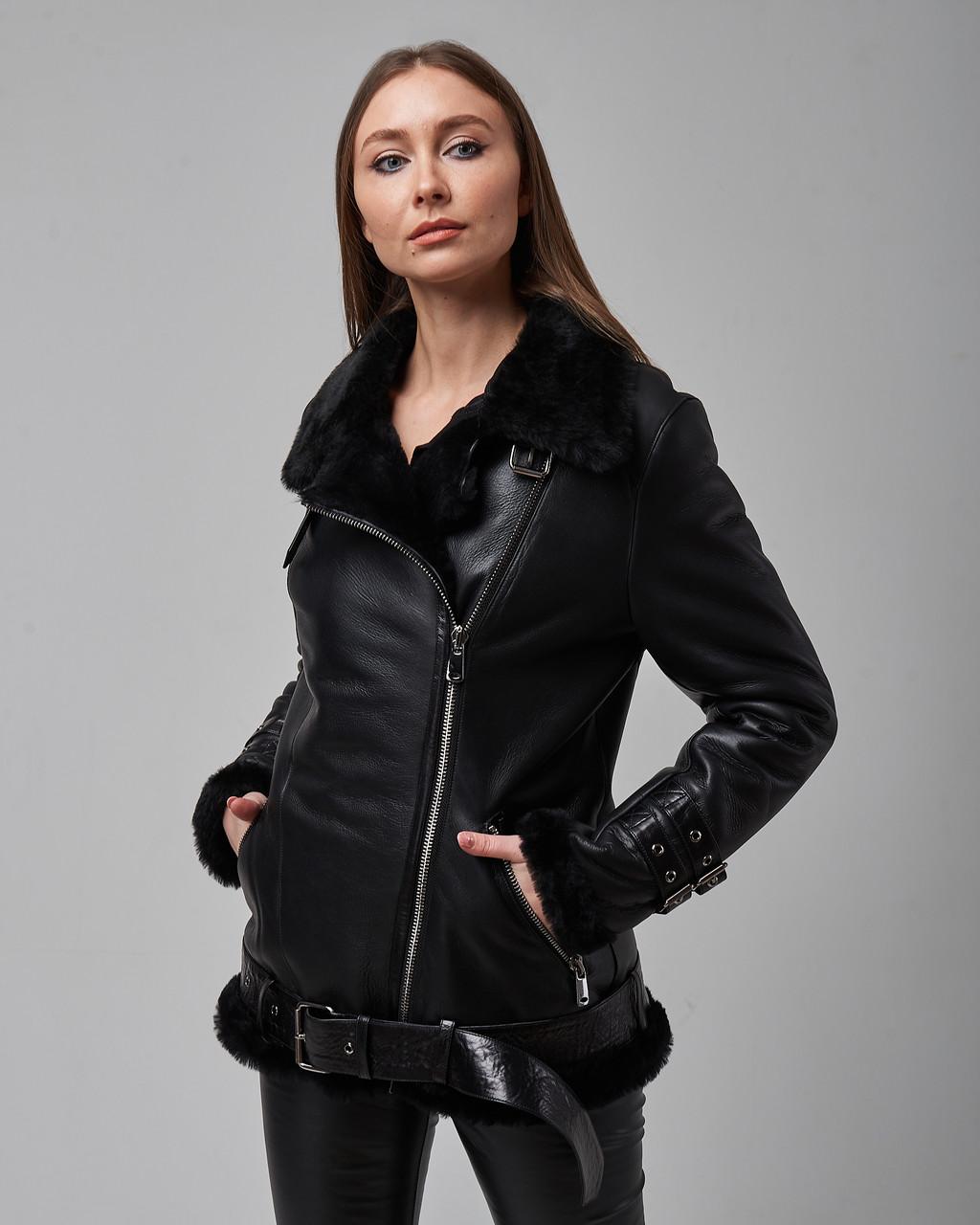 Дубленка женская натуральная черного цвета. Турция