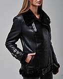 Дубленка женская натуральная черного цвета. Турция, фото 3