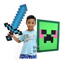 Пиксельный набор Рыцарькрафт Алмазный меч + Зеленый щит Крипер Minecraft KnightCraft Set