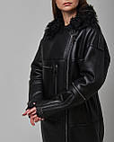 Дубленка женская из натуральной овчины черная. Турция, фото 2