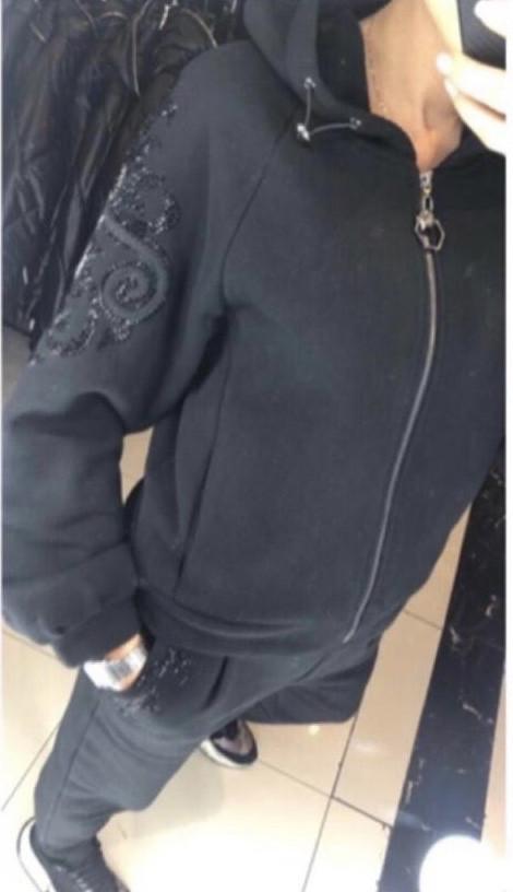 Костюмы на флисе со стразами и камнями Coco Bianca Турция люкс черный