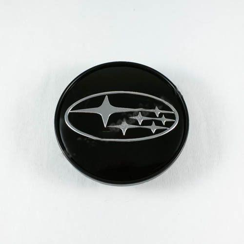 Ковпачок для диска Subaru чорний / хром лого (60 мм)
