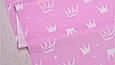 Сатин (хлопковая ткань) на розовом фоне короны новые (Брак, полоса от кромки 30 см) (50*160), фото 2
