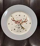 Набор из 6 фарфоровых тарелок Новогодний олень 26 см 924-663-3