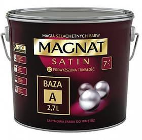 Краска сатиновое Magnat Satin База А БЕЛЫЙ сатиновый глянец 900 мл