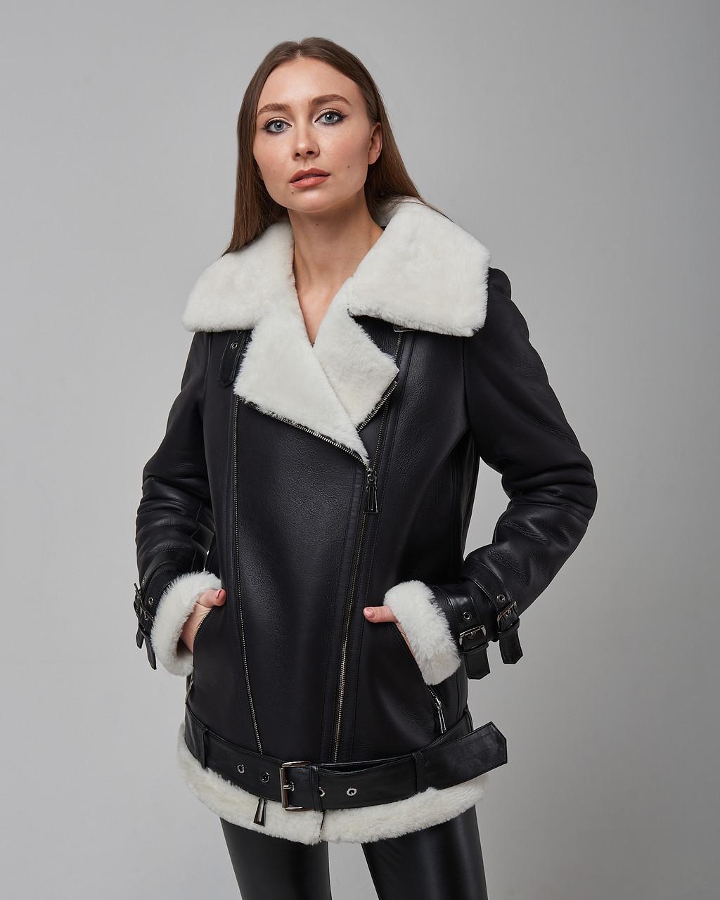 Дубленка косуха женская из натуральной овчины черная. Турция