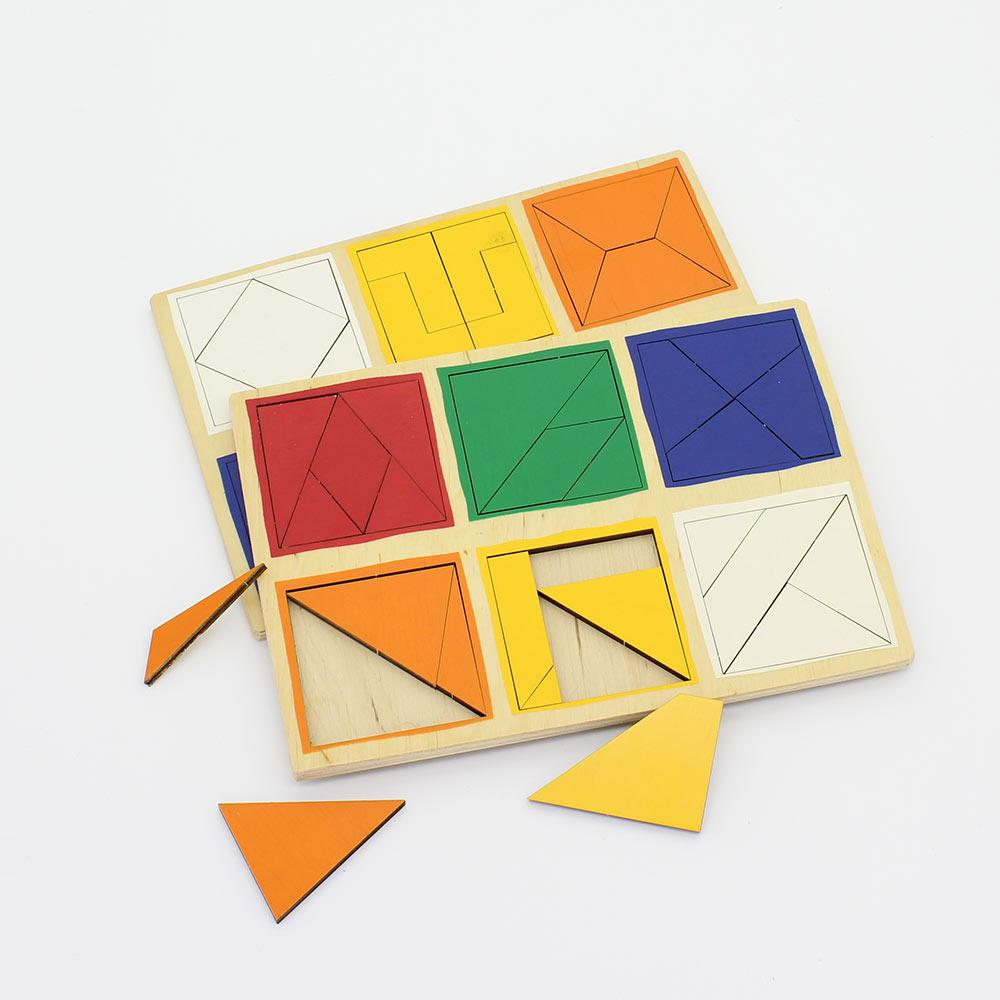 Деревянные планшеты Сложи квадрат Никитиных 2й уровень 56 деталей 20.50 х 14.50 х 0.70