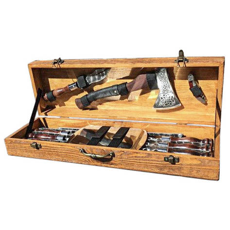 """Набор шампуров """"Рысь"""" Gorillas BBQ в деревянной коробке, фото 2"""