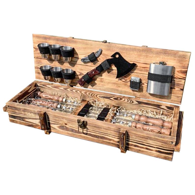 "Набор шампуров ""Витязь"" Gorillas BBQ в деревянной коробке"
