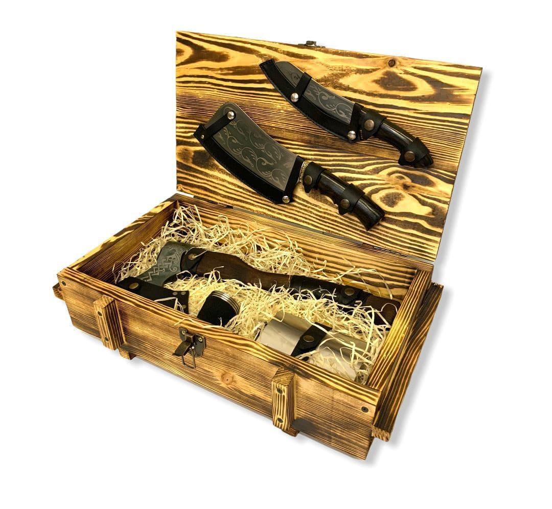 """Подарочный набор """"Выживший"""" Gorillas BBQ в деревянной коробке"""