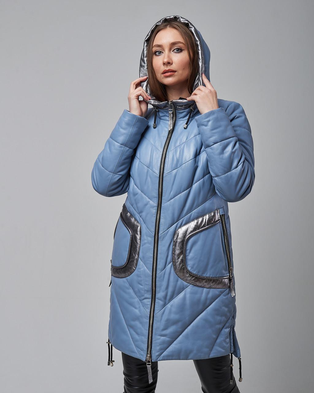 Женская теплая кожаная куртка синяя с капюшоном. Турция