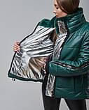 Женская теплая кожаная куртка зеленая с мехом шиншилы. Турция, фото 3