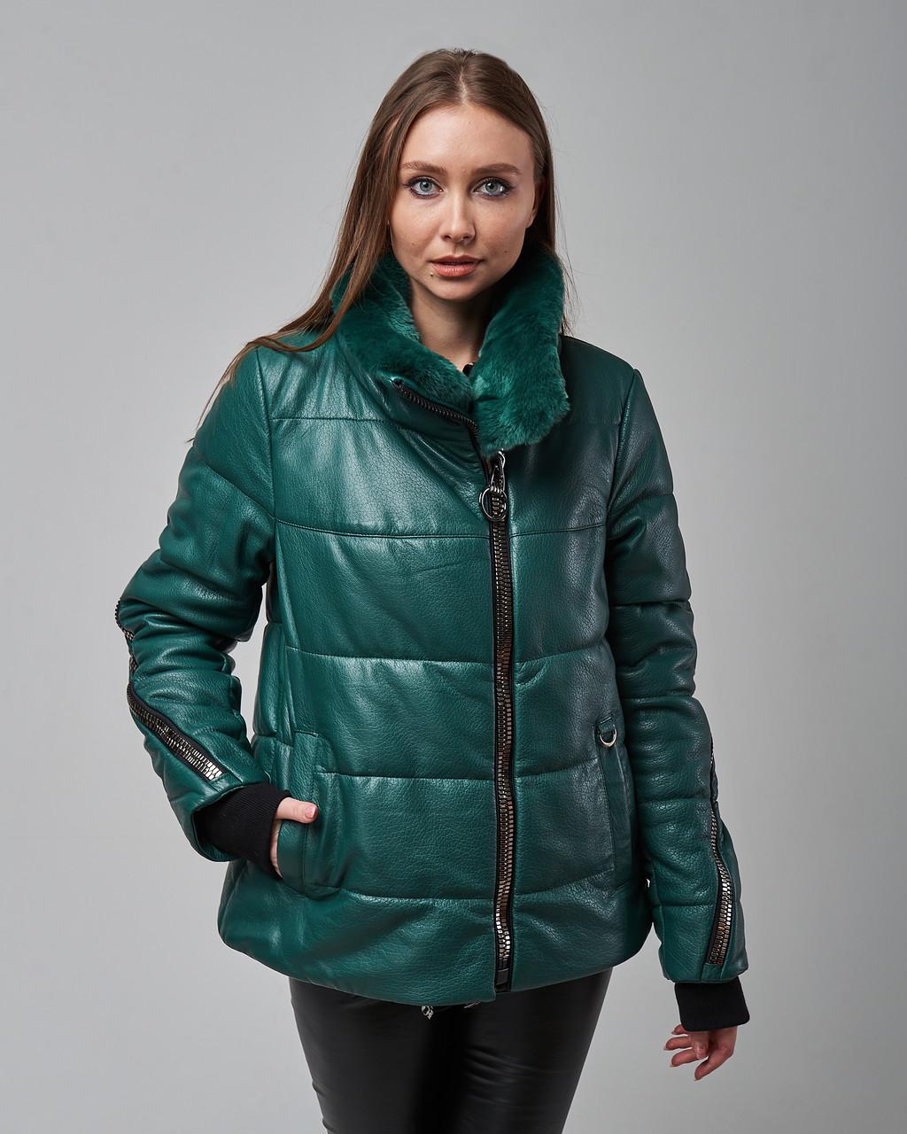 Женская теплая кожаная куртка зеленая с мехом шиншилы. Турция